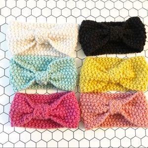 Crochet Knit Twist Bohemian Baby Headband Set